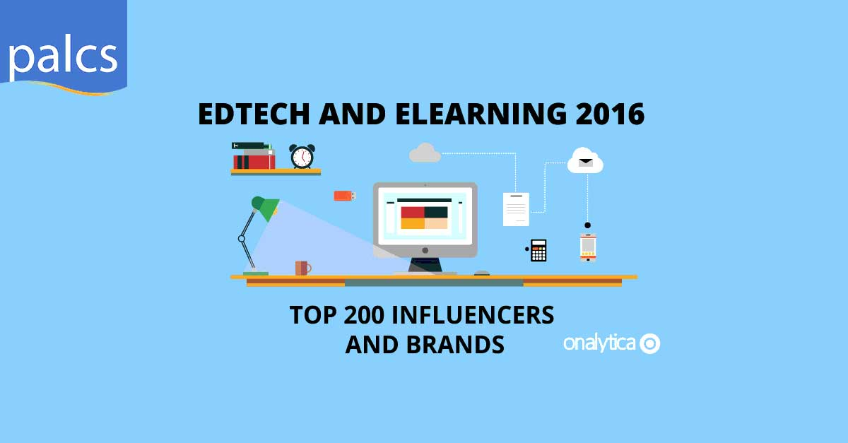 EdTech and ELearning 2016, Top 200 influencers and brands, info graphic desk with computer, lamp