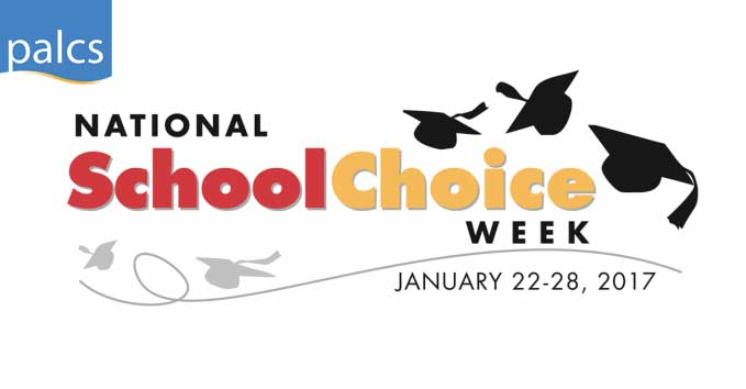National School Choice Week, Graduation Caps flying in the wind