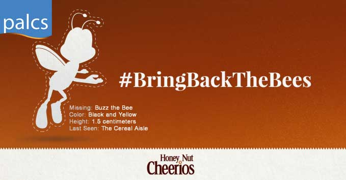 Bring back the Bees, Honey Nut Cheerios, Silhouette of Buzz The Bee, Missing
