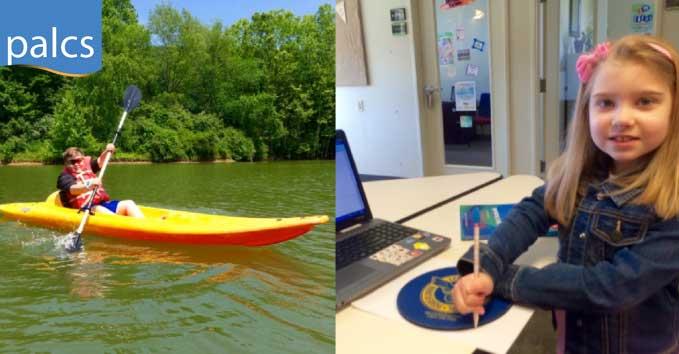 Ellison Family, Kayaking, working on school work