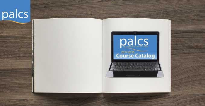 PALCS Course Catalog, open book, image of laptop