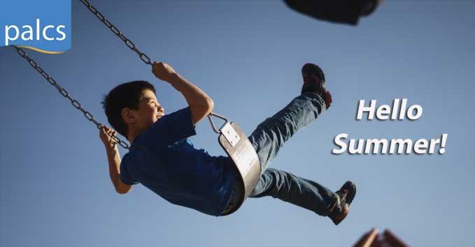 "Start of Summer, ""Hello Summer!"", Child swinging on swing"