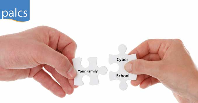 matching puzzle pieces saying 'your family' and 'cyber school'