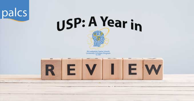 university scholars program logo with blocks saying USP a year in review