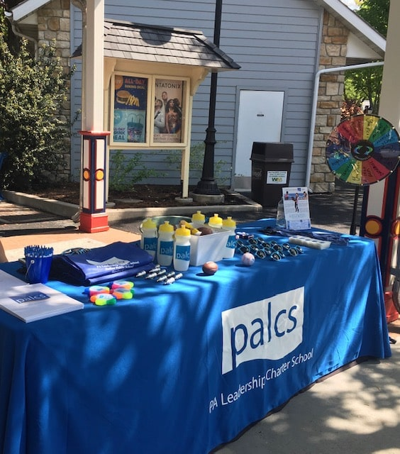 promotional table with giveaways at Hershey Park