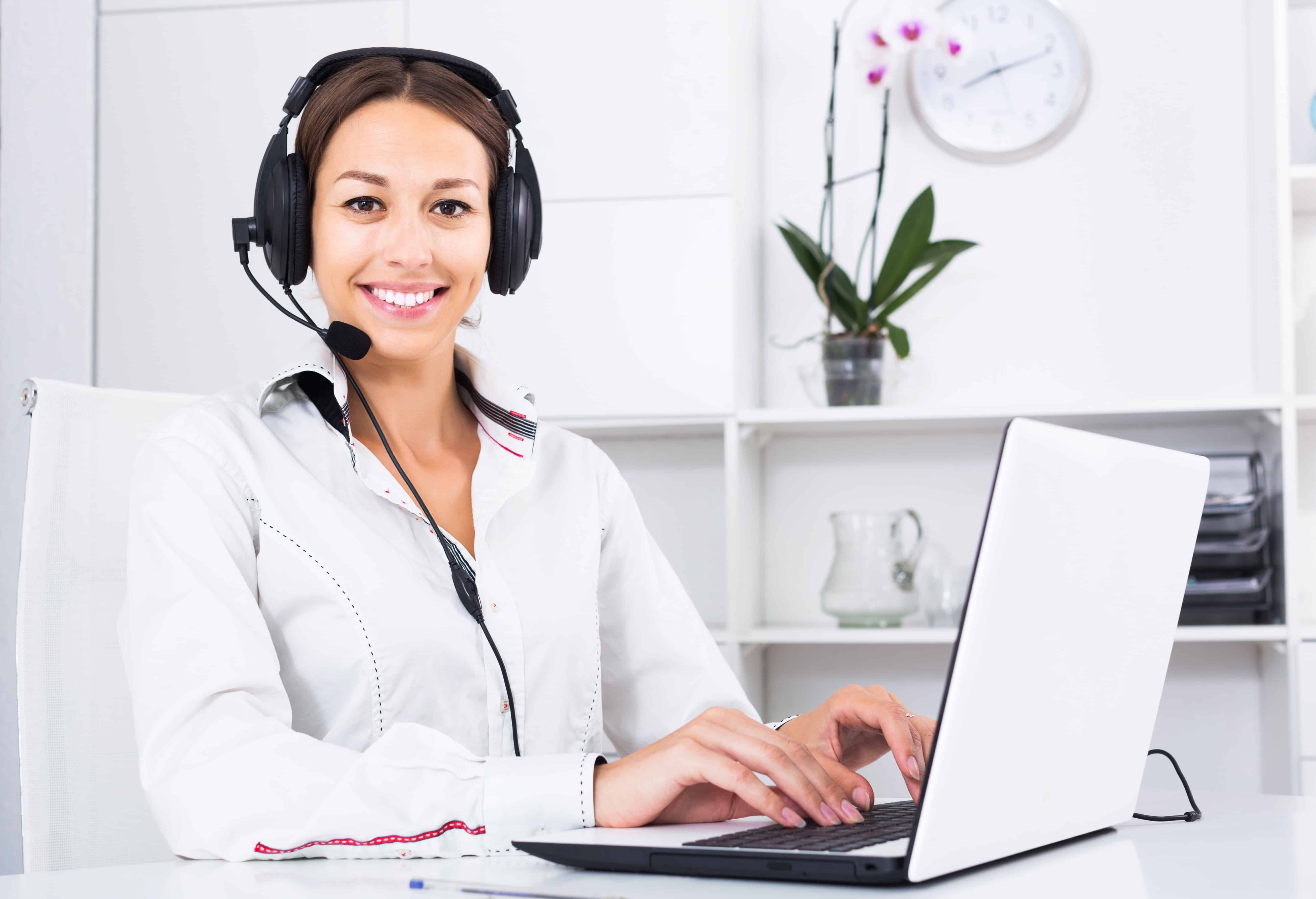 Woman on headset for online information session