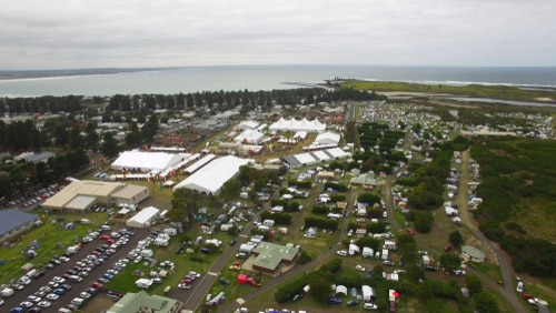 Fairgound with tents prepared for festival.