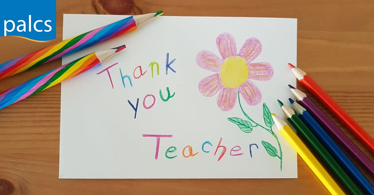 Hand written note from child saying thank you teacher